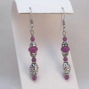 Orchid Purple Jade and Silver Stick Earrings